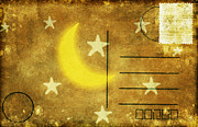 Torn Metal Prints - Moon And Star Postcard Metal Print by Setsiri Silapasuwanchai