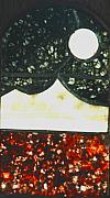 Panel Glass Art Originals - Moon and Stars by Joseph Cossolini