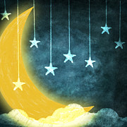 Night Pastels Metal Prints - Moon And Stars Metal Print by Setsiri Silapasuwanchai