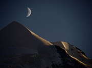 Mountain In Snow Posters - Moon At Night Over Mountain Silver Horn Poster by Rolfo