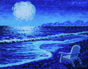 Sea Moon Full Moon Painting Originals - Moon Beach by Tommy Midyette