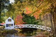 Somesville Maine Prints - Moon Bridge in Autumn Print by Susan Cole Kelly