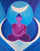 Zodiac Paintings - Moon Buddha by jrr by First Star Art