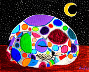 Whimsical Animals  Art - Moon Doggy by Nick Gustafson