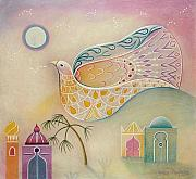 Surrealisme Framed Prints - Moon Dove Framed Print by Sally Appleby