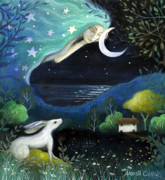Fairytale Painting Posters - Moon Dream Poster by Amanda Clark