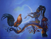 Gamefowl Paintings - Moon Fowl by Edbon Sevilleno
