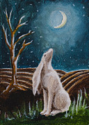 Good Luck Painting Metal Prints - Moon-Gazing Hare Metal Print by Nicole Okun