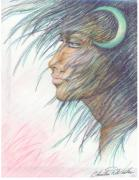 Myth Pastels Prints - Moon Goddess Print by Christine Winters