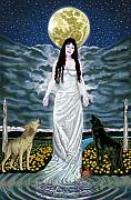 Goddess Paintings - Moon Goddess by Pamela Wells