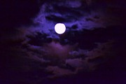 Moon Pyrography - Moon in purple haze by Artie Wallace