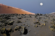 Lanzarote Prints - Moon In Volcano Print by Pedro Terrades