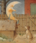 Dog Drawings Prints - Moon Print by Kestutis Kasparavicius