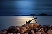 Anchor Acrylic Prints - Moon Light Anchor Acrylic Print by Torehegg
