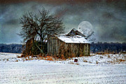 Snow Tree Prints Posters - Moon Light Barn Poster by Mary Timman
