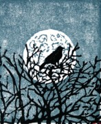 Raven Drawings Originals - Moon Light Perch by Andrew Jagniecki