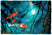 Koi Mixed Media Posters - Moon light swim Poster by Gina Signore