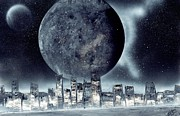 Marc Chambers Acrylic Prints - MOon lit city Acrylic Print by Marc Chambers