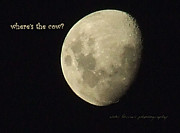 Man In The Moon Framed Prints - Moon Missing Cow Framed Print by Vicki Ferrari