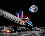 Colonisation Prints - Moon Monorail Print by Victor Habbick Visions
