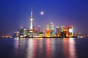 Bund Shanghai Framed Prints - Moon Night The Bund Framed Print by Copyright of Eason Lin Ladaga