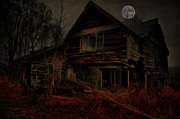 Old Abandoned Houses Posters - Moon Of Old Poster by Emily Stauring