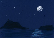 Stars Pastels Posters - Moon on the Ocean Poster by Hakon Soreide