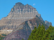 Montana Digital Art - Moon over a Glacier Peak by Ruth Hager