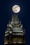 Charlotte Photo Prints - Moon over Bank of America Print by Patrick Schneider