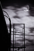 Night Scenes Framed Prints - Moon Over Brooklyn Rooftop Framed Print by Gary Heller