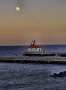Duluth Photos - Moon Over Canal Park by Jimmy Ostgard