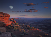 Color Of Dawn Posters - Moon Over Canyonlands National Park Poster by Tim Fitzharris
