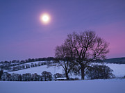 Glowing Moon Posters - Moon Over Chilterns Poster by Photontrappist