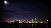 Dallas Skyline Posters - Moon over Dallas Poster by Charles Dobbs