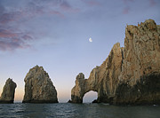 Granite Arches Framed Prints - Moon Over El Arco Cabo San Lucas Mexico Framed Print by Tim Fitzharris
