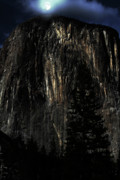 Yosemite Village Prints - Moon Over El Capitan in Yosemite Print by Wingsdomain Art and Photography