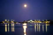 Fishing Boats Originals - Moon over fishing boats by David Nunuk
