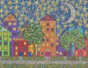 Buildings Drawings - Moon Over Grace Street by Pamela Schiermeyer