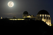 Moonrise Prints - Moon Over Griffith Observatory Print by Mike Herdering