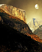 Gold Mountains Mixed Media Framed Prints - Moon Over Half Dome . Portrait Cut Framed Print by Wingsdomain Art and Photography