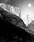 Bierstadt Photos - Moon Over Half Dome . Black and White by Wingsdomain Art and Photography