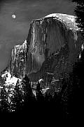 Half Dome Photos - Moon Over Half Dome by Jim Dohms