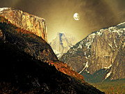 Gold Mountain Mixed Media Framed Prints - Moon Over Half Dome Framed Print by Wingsdomain Art and Photography