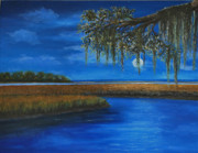 South Carolina Low Country Marsh Paintings - Moon Over Hilton Head by Stanton D Allaben