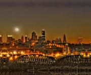 Mo Prints - Moon Over Kansas City Mo Print by Don Wolf