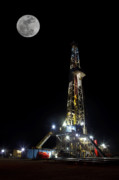 Oil Drilling Posters - Moon Over Latshaw 10 Poster by Jonas Wingfield