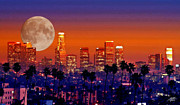 Los Angeles Skyline Digital Art Prints - Moon Over Los Angeles Print by Steve Huang