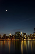 East River Prints - Moon Over Manhattan Print by Photographs by Vitaliy Piltser