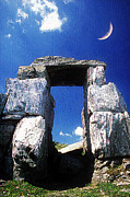 Cyclopean Prints - Moon over Megalithic gate Print by Andonis Katanos