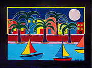 South Beach Paintings - Moon Over Miami by Marlene MALKA Harris